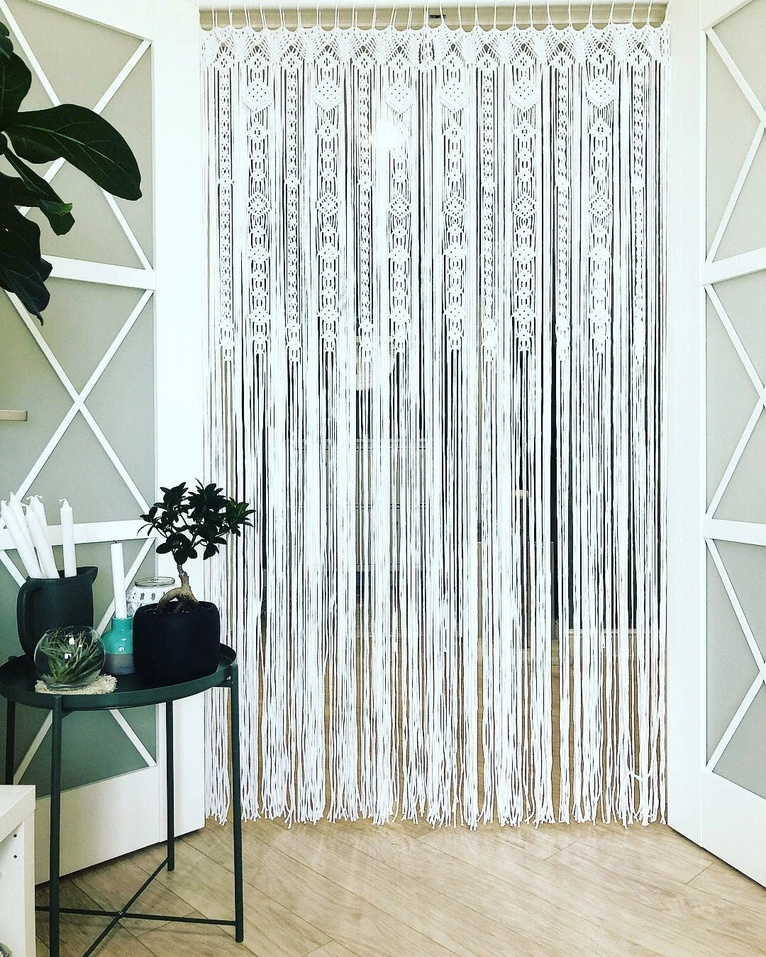 grands rideaux de porte macrame de 2 ou 1 panneaux rideau d entree crochete rideau de fenetre de macrame grand macrame boho toile de fond de