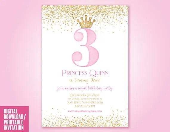 princess birthday party invitation pink and gold princess crown invitation third birthday invite princess invites digital printable file