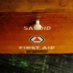 Large Vintage Wood Wooden Retro Antique Sanoid First Aid Box Kit Case Bathroom Medicine Cabinet
