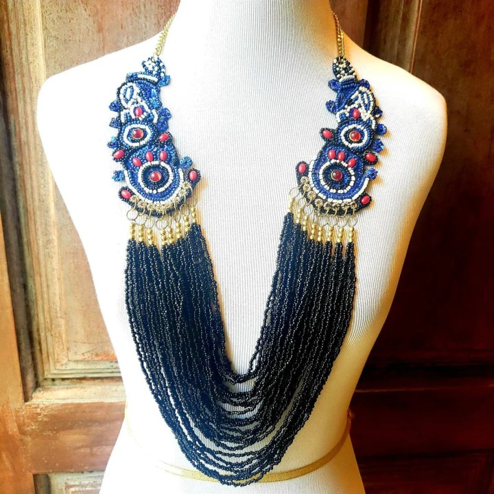 Multistrand seed bead necklace with applique and sequins Black