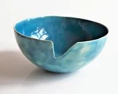 Ceramic bowl chip, transparant blue