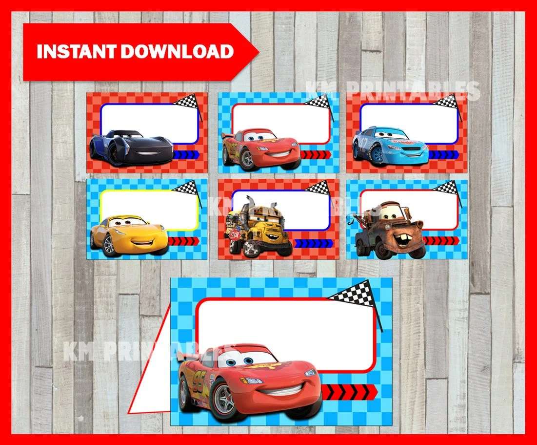 Printable Disney Cars 3 Food Labels Instant Download Cars