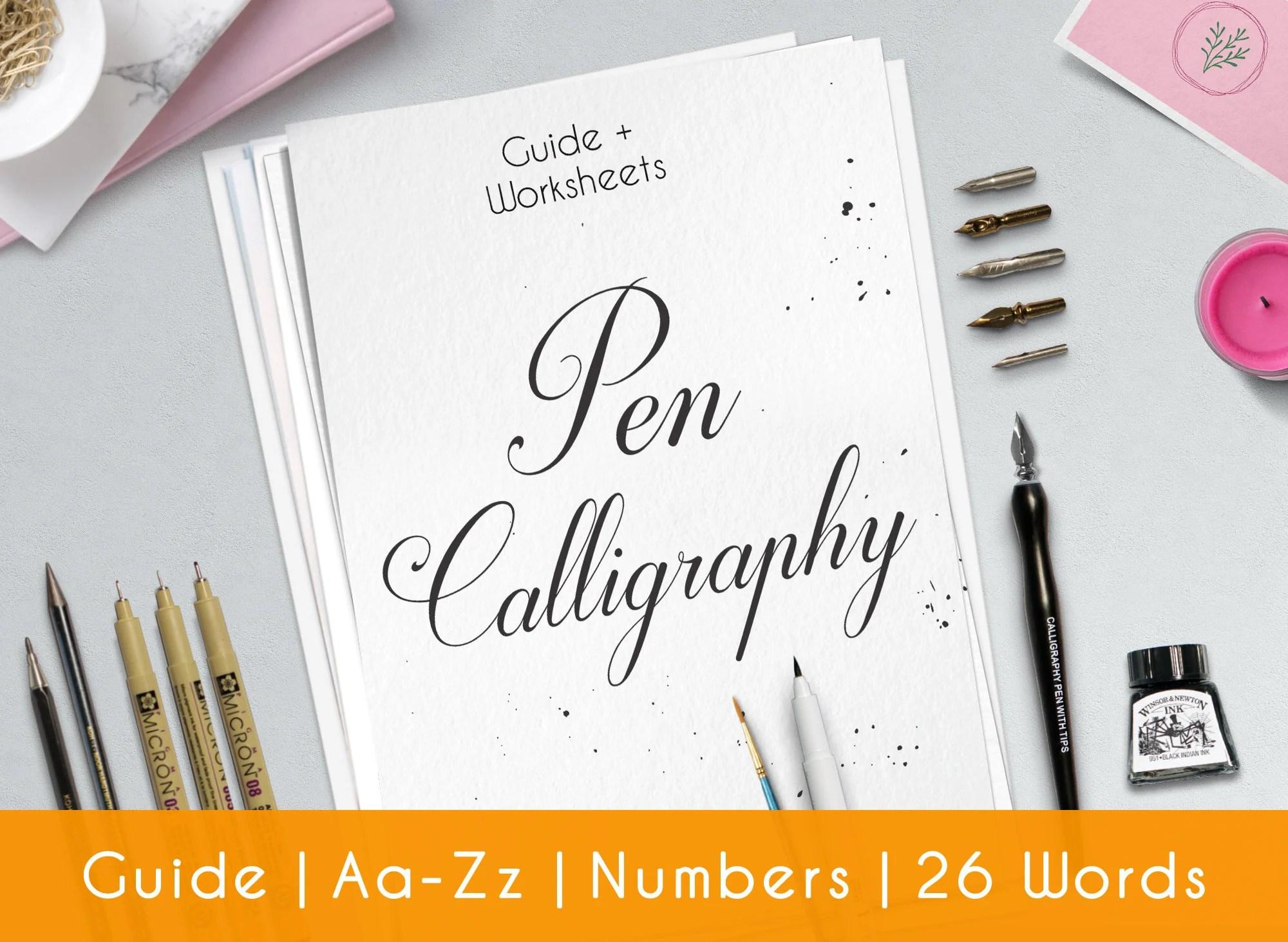 Modern Calligraphy Printable Worksheets Complete Pen