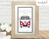 VW CAMPER Wedding or Engagement Gift  - Printed Framed Picture Art • Personalised • Family • Dubfest • Camping • Own Wording