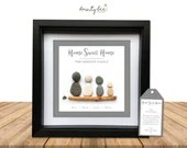 Pebble Art House Family Personalised Gift. Home Sweet Home Picture Handmade and Framed to Order. • Sea Glass • Options Available.