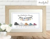 CONVERSE FAMILY Picture Gift. Personalised All Star Trainer Boot • Framed Picture • Custom Names • Various Frames • Wedding, Birthday