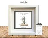 Pebble Art Wedding Gift Simple Design. Personalised Picture Handmade and Framed to Order • Sea Glass • Rustic Boho • Options Available