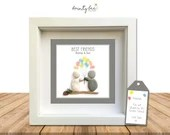 BEST FRIEND Pebble Art Personalised Gift • Framed Picture Present. Handmade to Order • Various Options • Sea Glass | Friendship | Valentine.