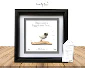 "DOG Personalised Pebble Art Picture gift with the quote ""Happiness is doggy kisses from (name)"". Options Available"