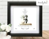 Pebble Art Wedding Rustic Gift: Personalised Picture Handmade and Framed to Order • Sea Glass • Custom Design • Shabby Chic Boho Balloons