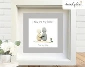 Pebble Art You are My Rock Gift • Personalised Picture Handmade & Framed to Order • 2 Sizes | Sea Glass | Friendship | Valentine