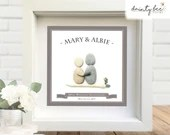 Pebble Art Wedding Anniversary Gift. Personalised Picture. Handmade and Framed to Order. Any year available • Sea Glass • Valentine