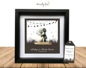 Pebble Art Wedding String Lights Gift. Personalised Picture Handmade and Framed to Order • Sea Glass • Festoon • Rustic • Options Available