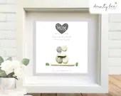 Pebble Art MUM Mother's Day Birthday Gift • Personalised Picture Handmade and Framed to Order. Mam. Sea Glass • 2 Sizes