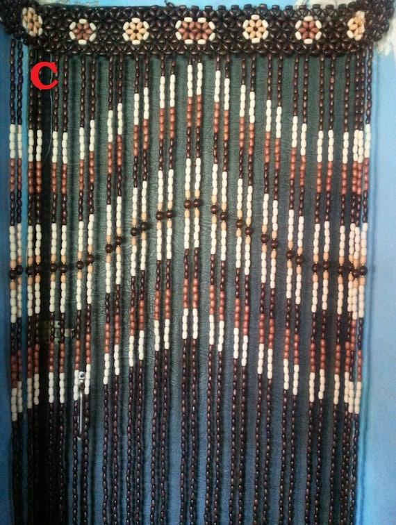Beaded Door Curtain Living Room Doorway Bead Gift Wood Blinds Etsy