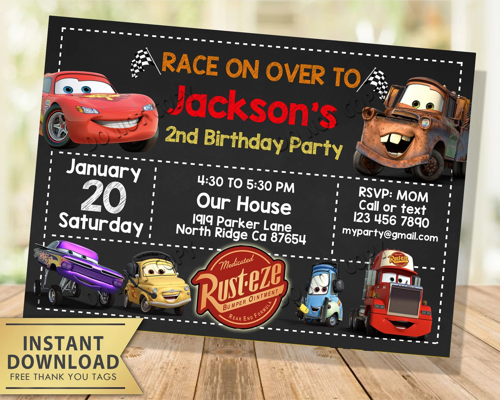 disney cars invitation instant download