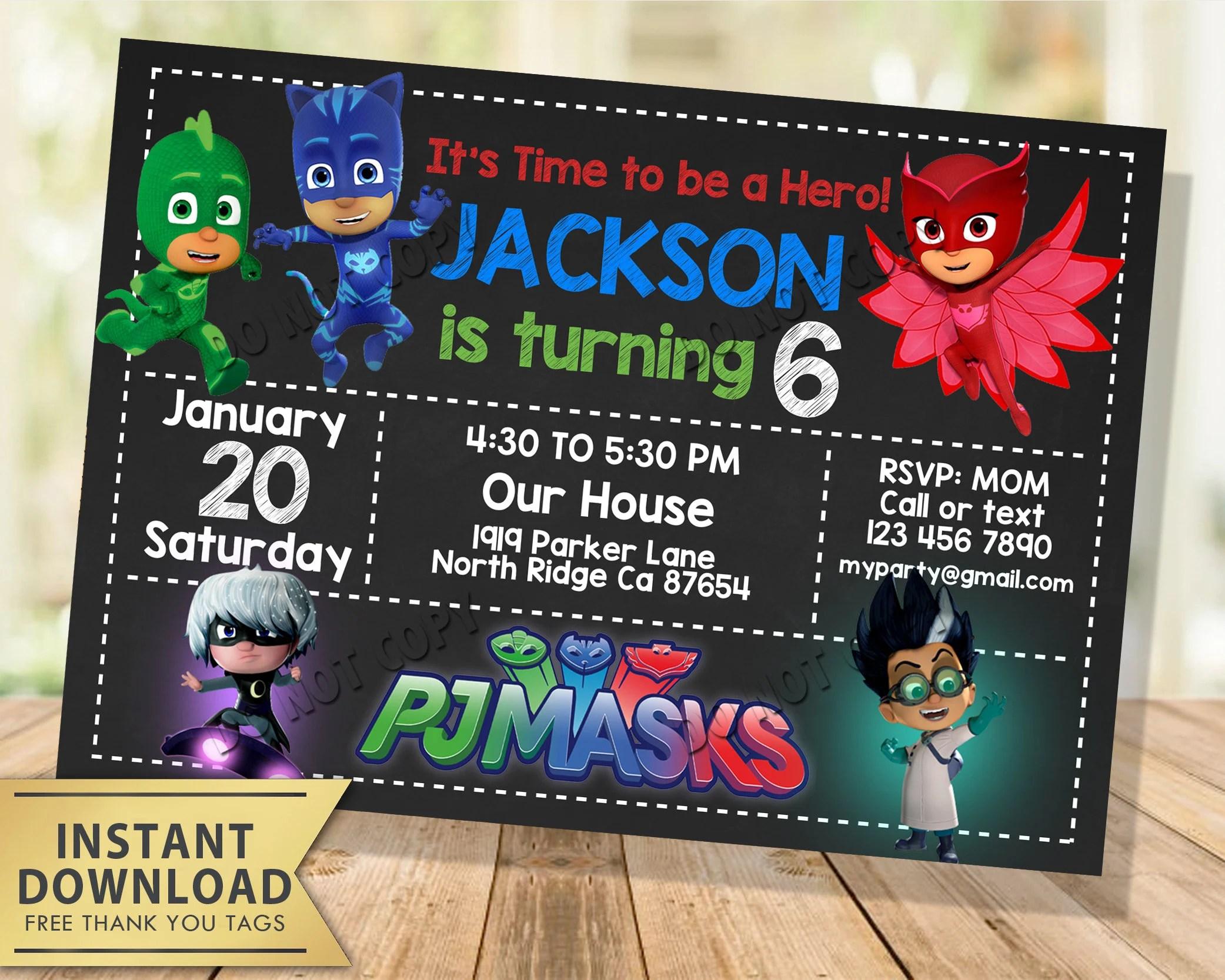 pj masks invitation instant download