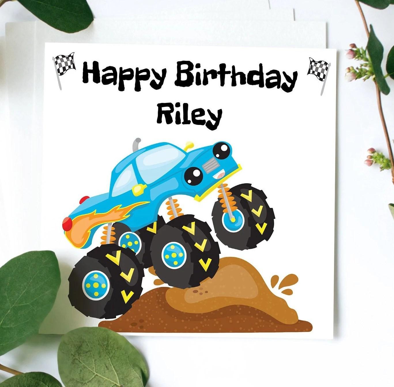 Monster Truck Geburtstagskarte Happy Birthday Karte Etsy