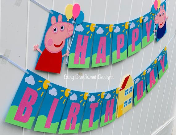 Peppa Pig Happy Birthday Banner Peppa Pig Party Peppa Pig Etsy