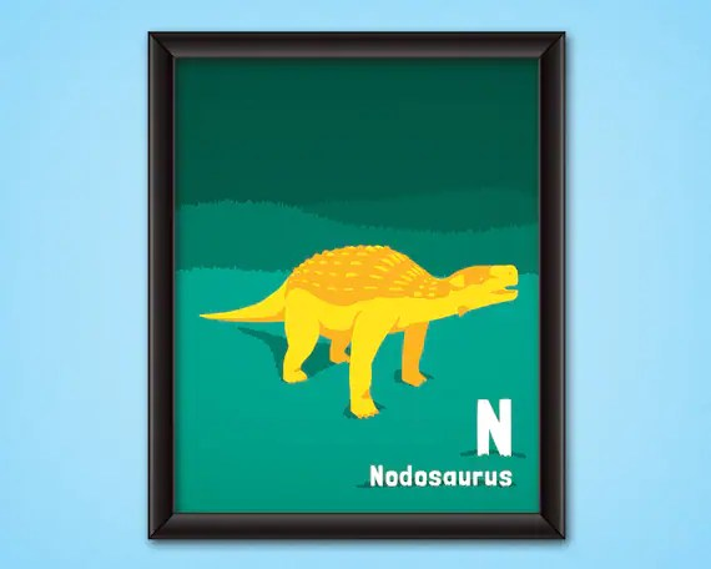 dinosaur alphabet poster nodosaurus digital download kids nursery room decor printable dino wall art jurassic abc letter n