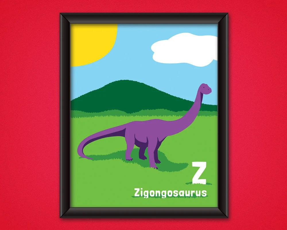 dinosaur alphabet poster zigongosaurus digital download kids nursery room decor printable dino wall art jurassic abc letter z