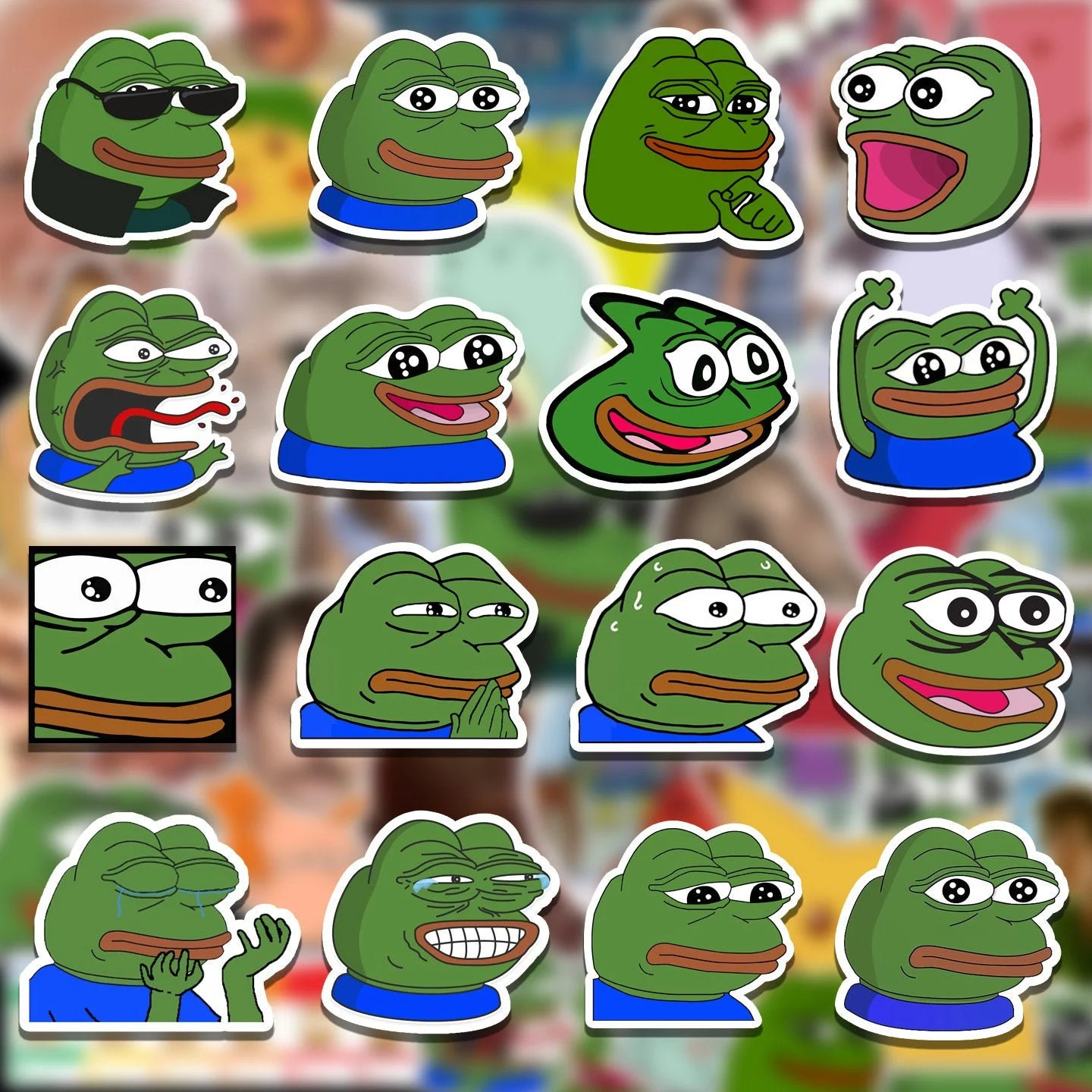 Pepe The Frog Twitch Emote Sticker Bomb Pack Laptop Stickers Etsy