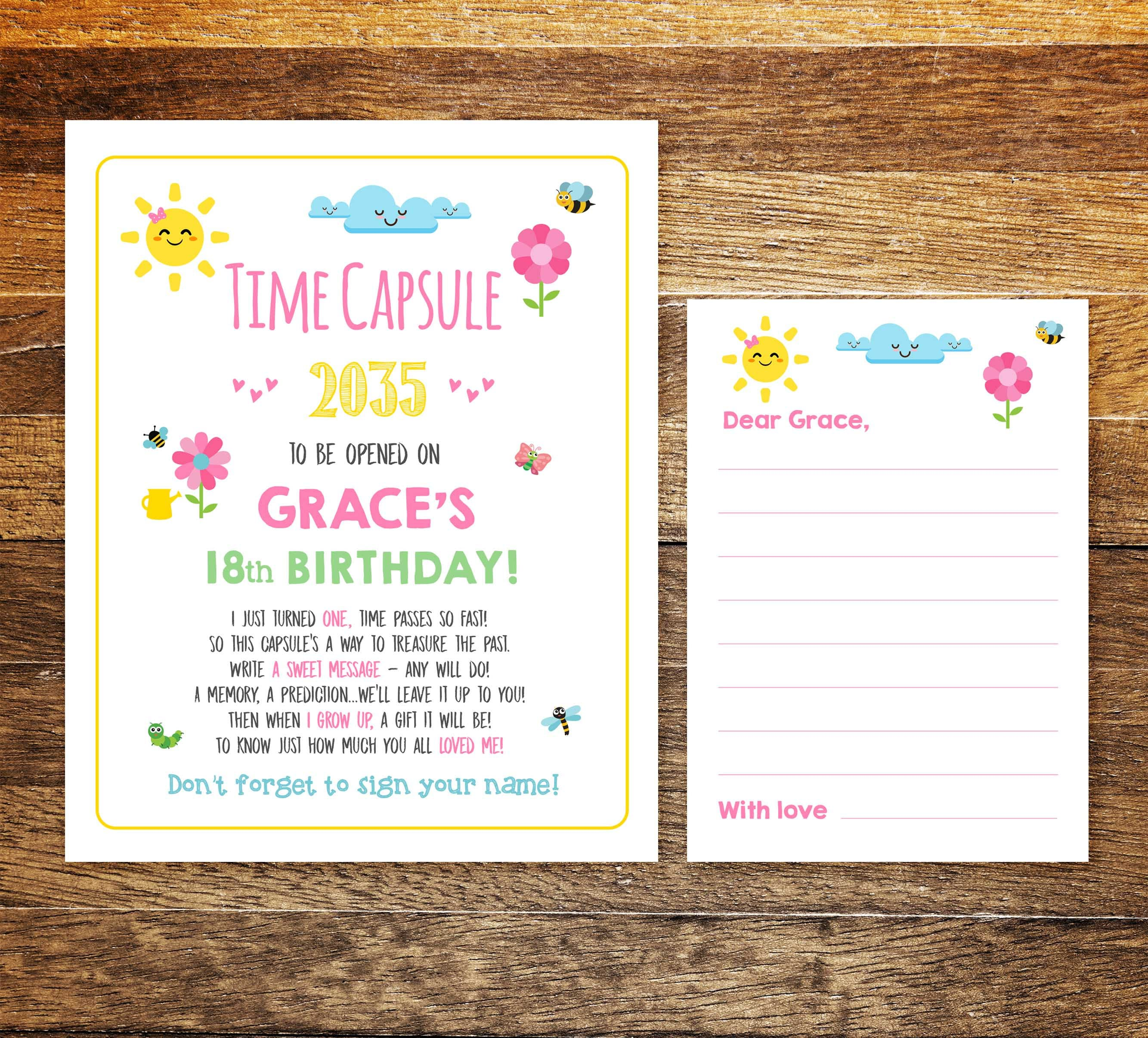 Time Capsule Printable Sunshine First Birthday Baby Time