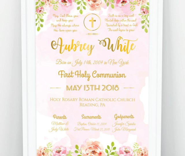 First Communion Poster First Communion Chalkboard Poster On White Girl First Holy Communion Gift Baptism Poster Christening Sign Print