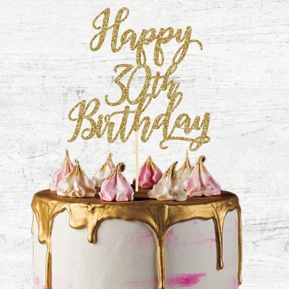 Happy 30th Birthday Cake Topper Glitter Card Cake Topper Etsy
