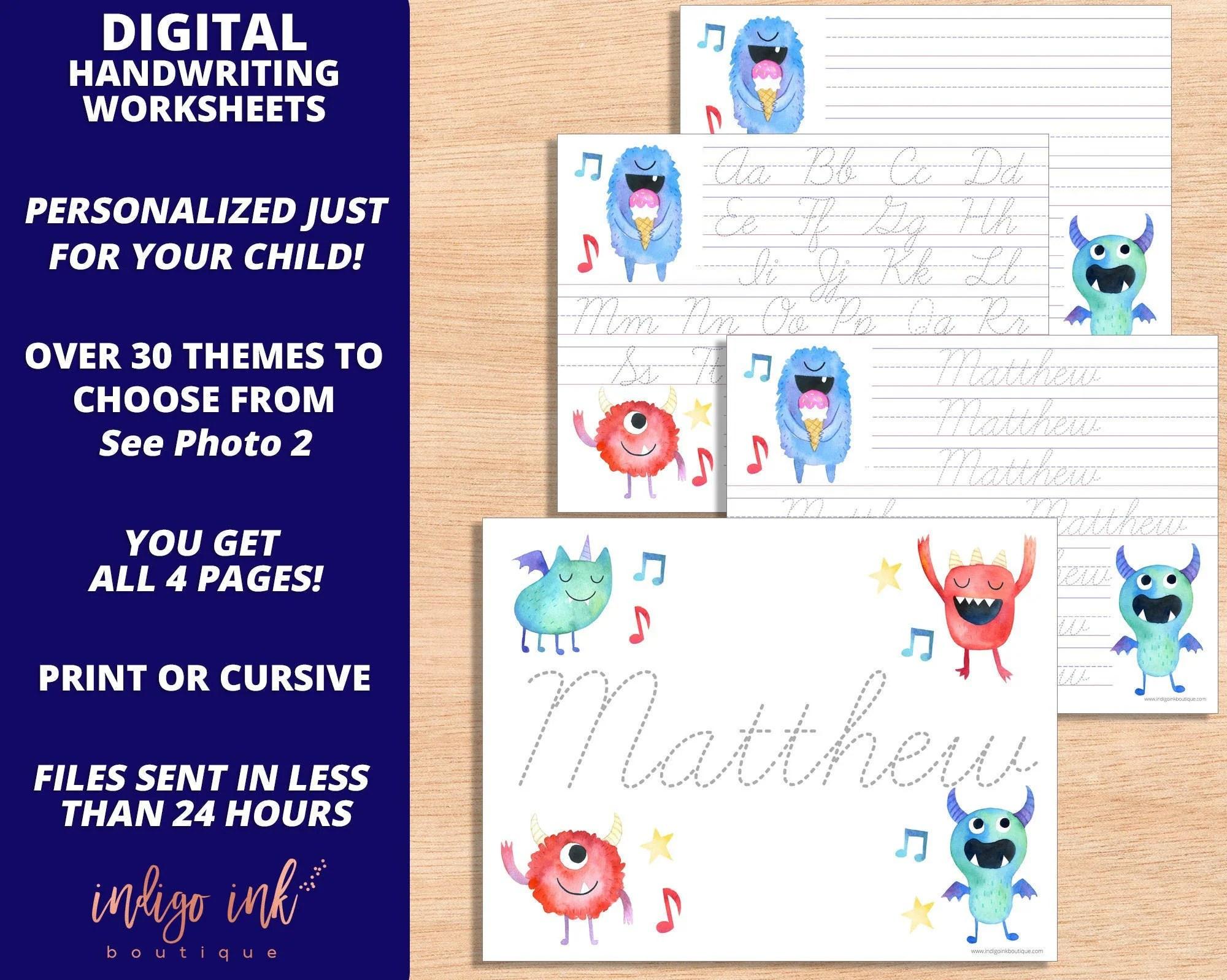 Personalized Handwriting Worksheet Digital Download 1st
