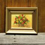 Vintage Flower Painting W Leon Oil On Canvas Yellow Red Flower Bouquet Wall Hanging Art Gold Framed Decor Small Decorative Picture