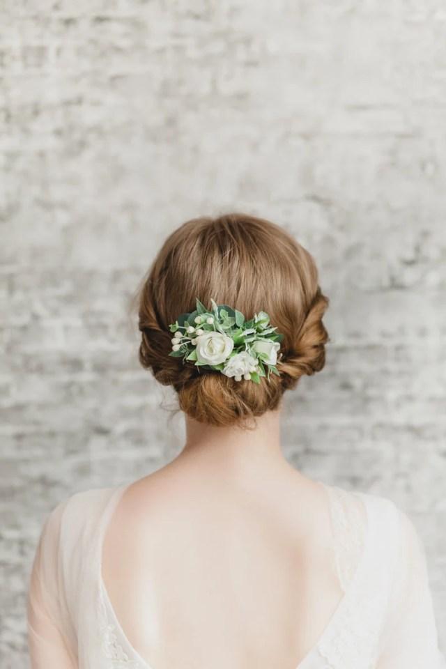 flower hair comb wedding floral hair comb small bridal hair comb rose white flower hair piece greenery hair comb wedding hair flower comb