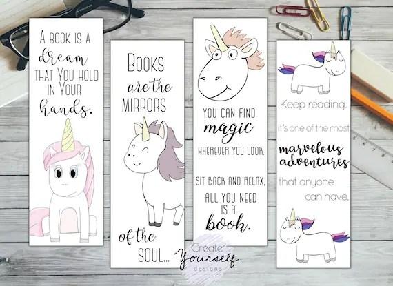printable unicorn bookmarks # 11