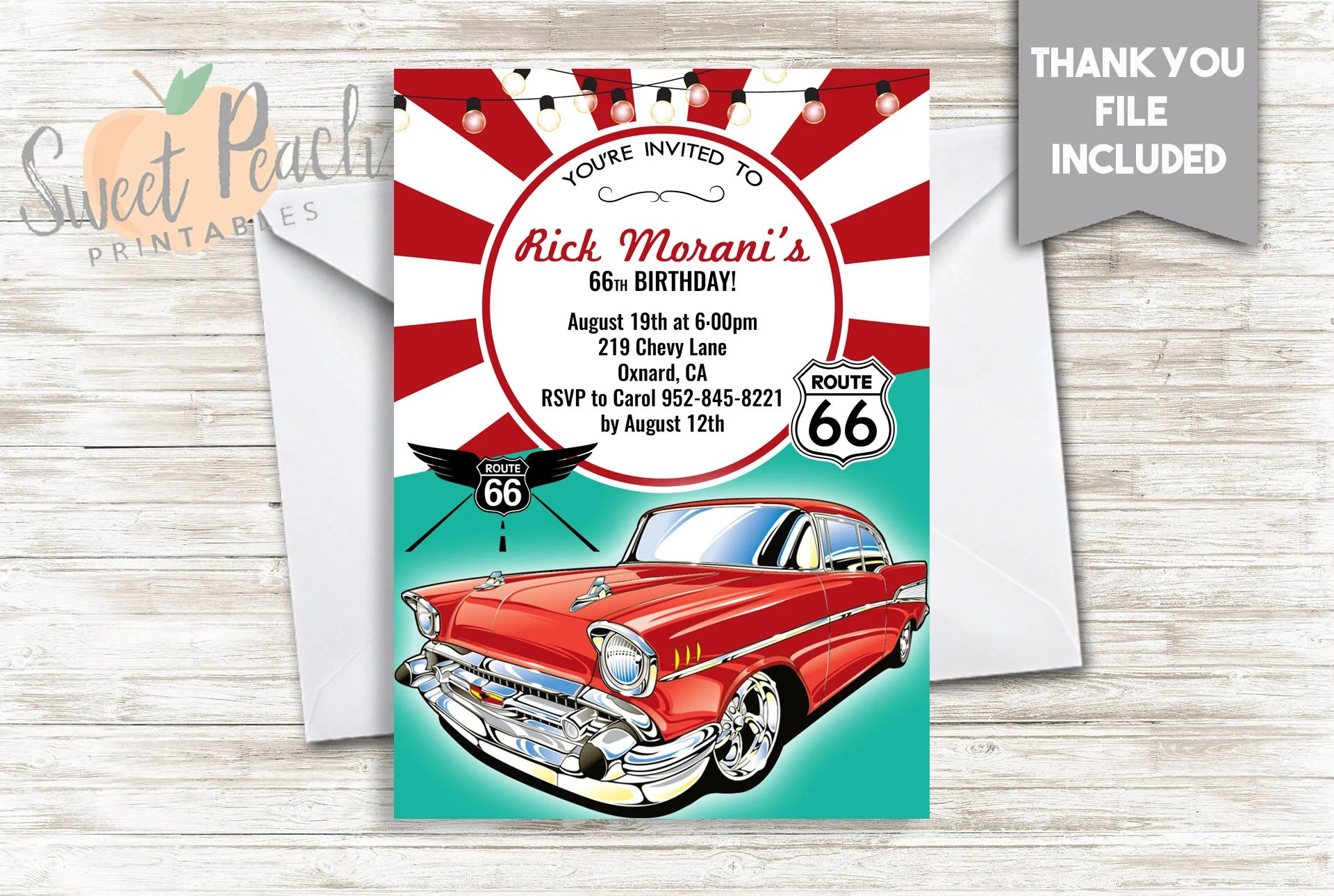 route 66 birthday invite 5x7 digital personalized classic car birthday invitation adult men man guy over the hill 147 0