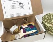 DIY beeswax wrap kit. Zero waste kitchen wraps kit.  Makes 4 large wraps.  Organic cotton & rewaxing bar. Reviver bar for wax covers