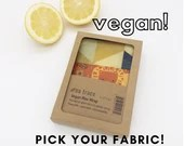 Organic cotton vegan wax kitchen wrap - 2 pack - Pick your fabrics.  Fits sandwiches, bowls, bread, and more. All-natural kitchen storage.