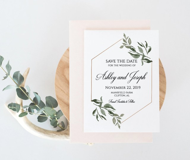 Greenery Save The Date Calligraphy Save The Date Save The Date Templatewedding Invitationssave The Date Postcardsave The Date Printable