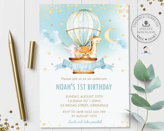 hot air balloon invitation editable