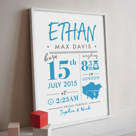 Personalised Baby Stat Print