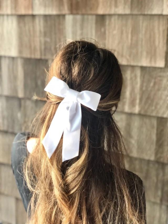 large 'white dove' velvet hair bow barrette, wedding bridal hair bow