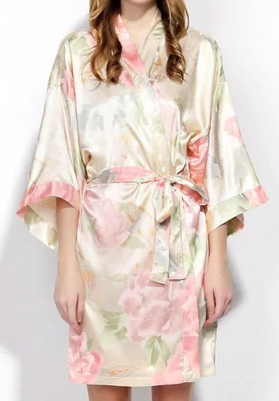 Personalized Floral Satin Robe Robes Christmas Gift for Wife image 5