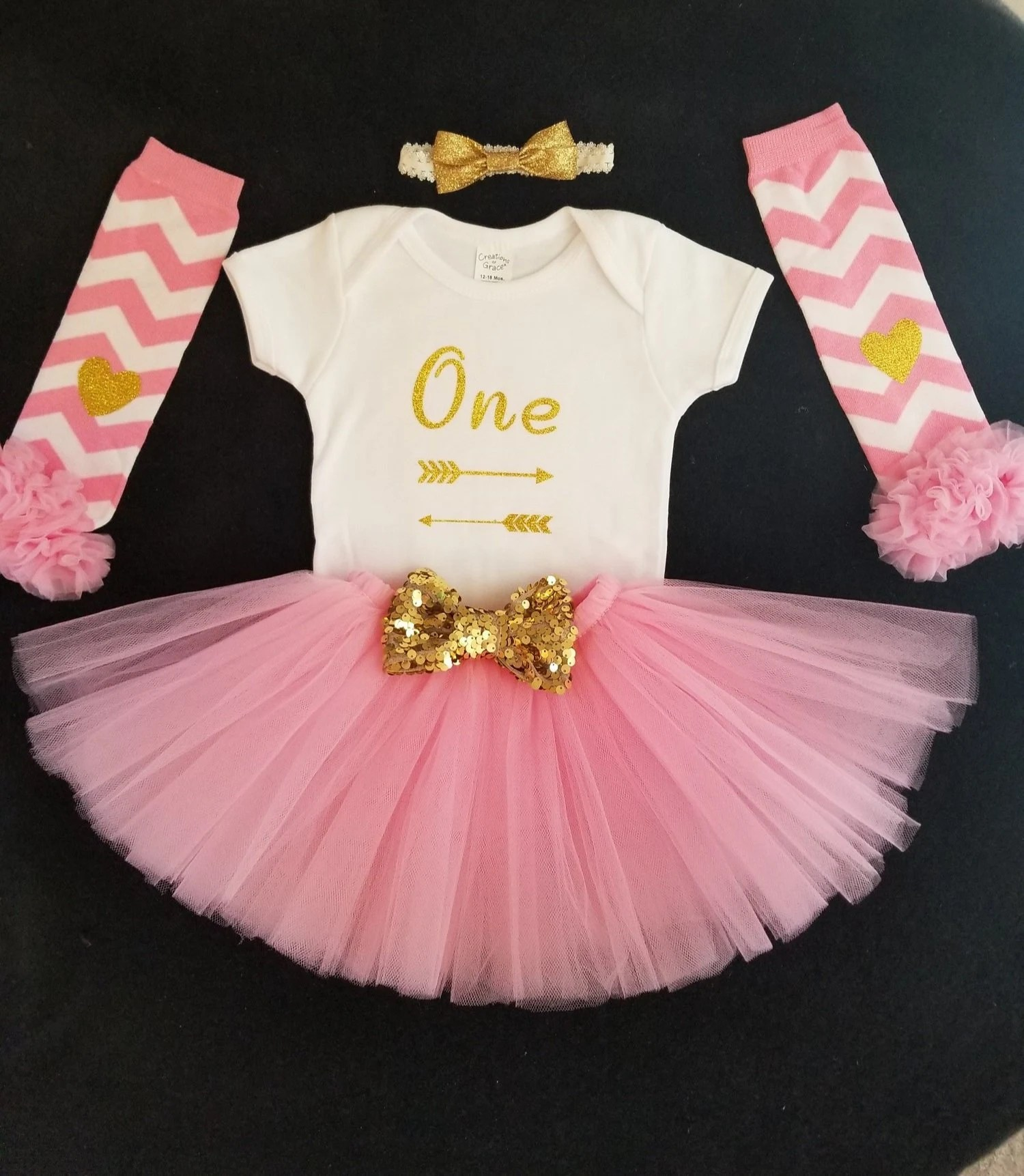 Pink And Gold First Birthday Outfit Pink And Gold Tutu One Etsy