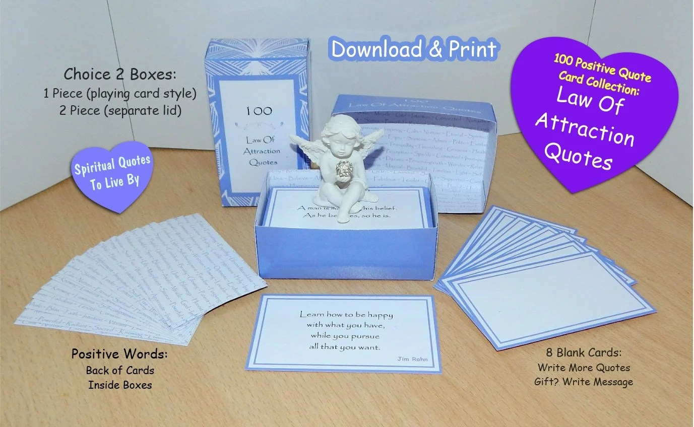 100 Law Of Attraction Quotes Printable Box Set Quote Cards