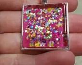 """Pink and confetti 1"""" square glass pendant"""