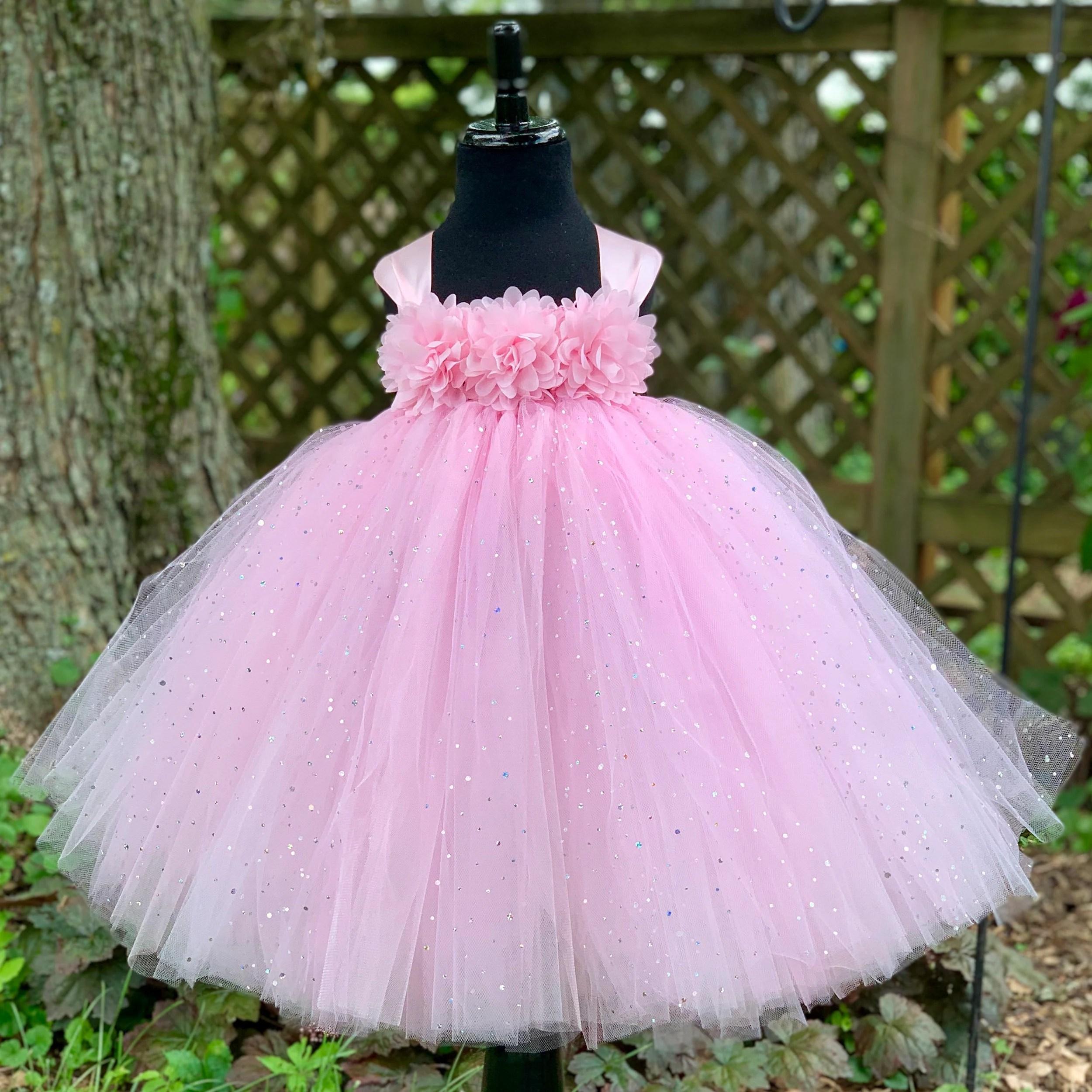 Pink Princess Tutu Dress For Girls Sparkle Dot Tulle Etsy