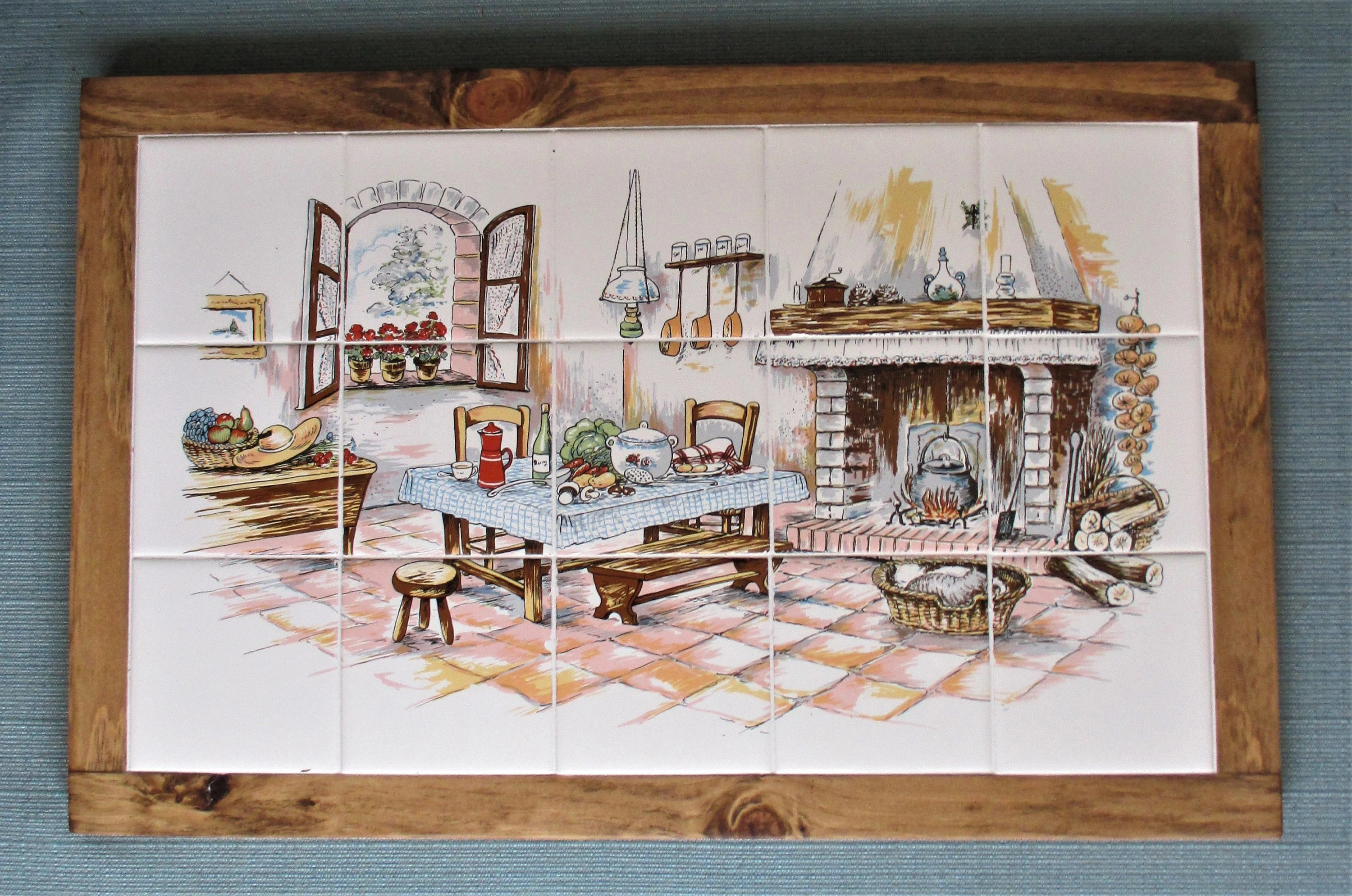 country kitchenframed tile mural mural wall hanging etsy