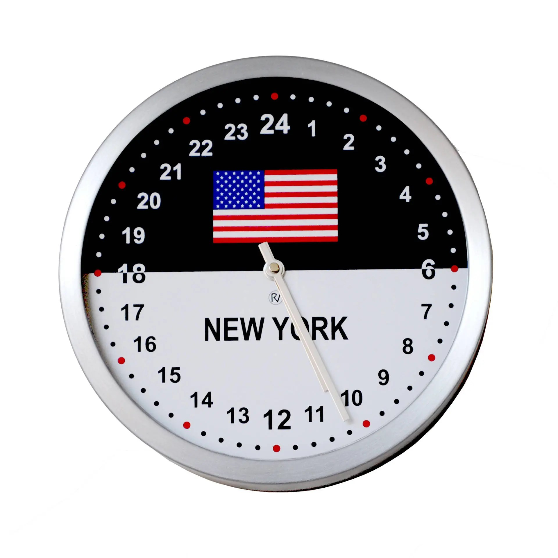 Roco Verre 24 Hour Time Zone Flag Wall Clock
