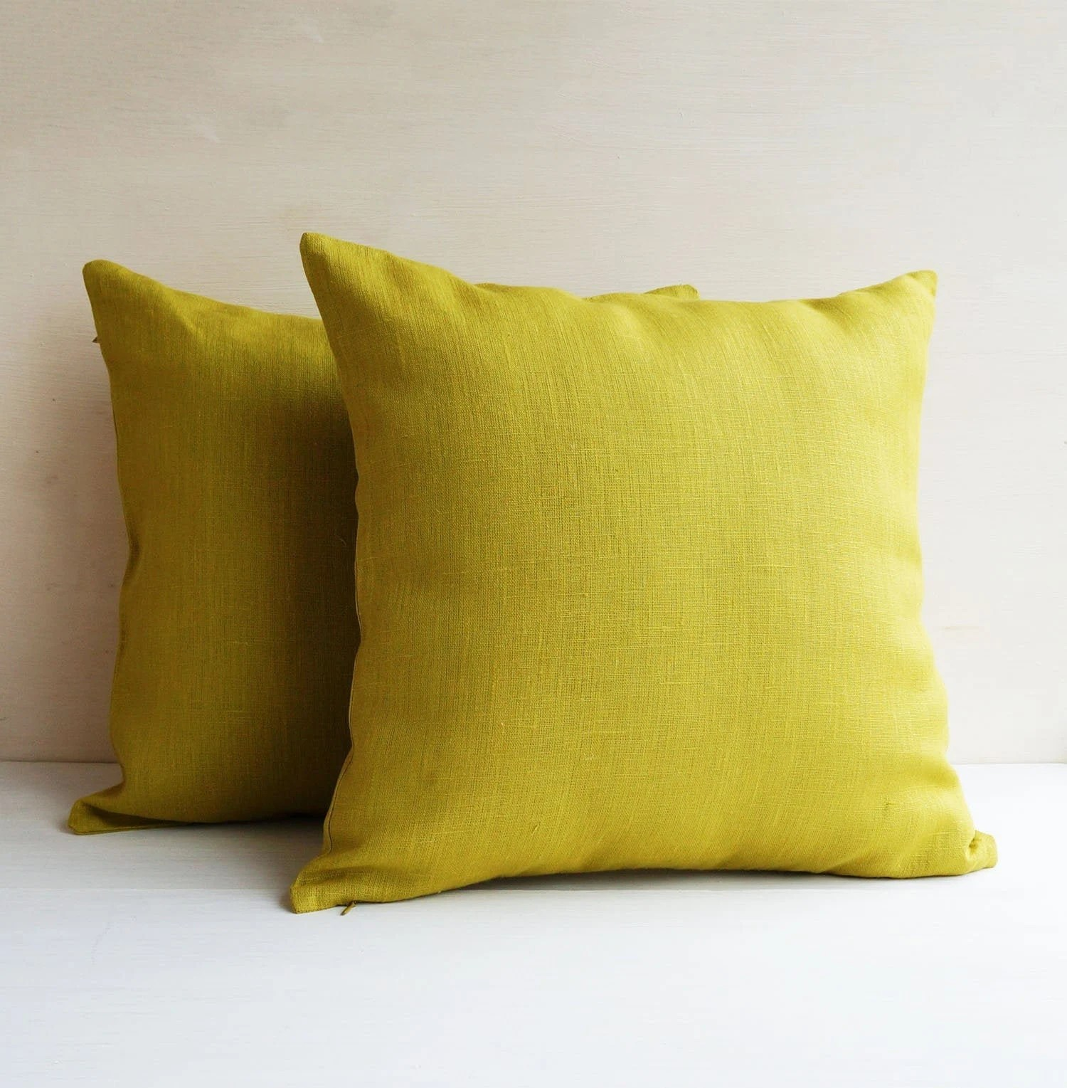 set of 2 lime green linen pillow cases chartreuse throw pillow covers for sofa cushion bed or outdoor 18x18 20x20 22x22
