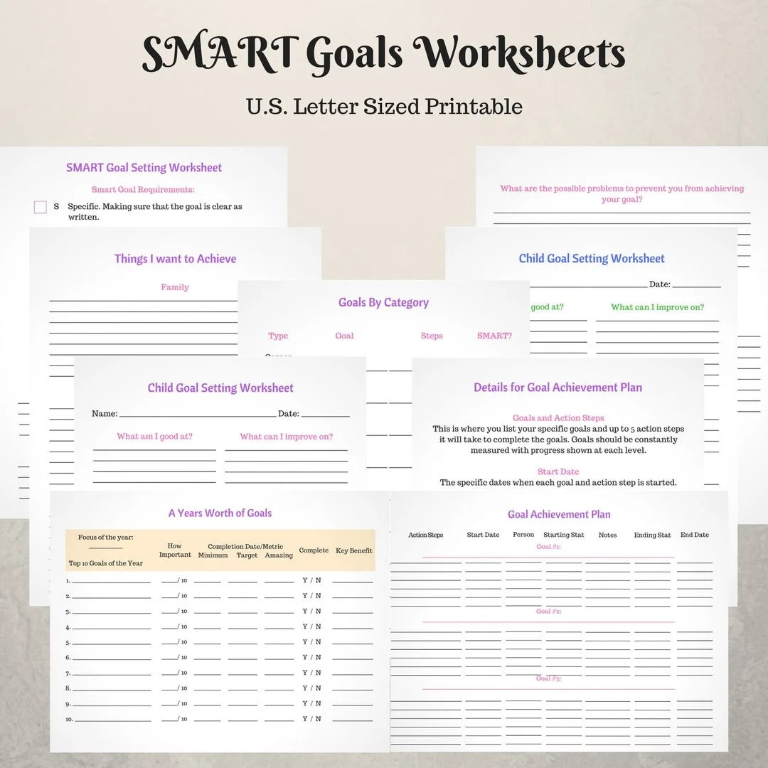 Smart Goal Setting Worksheets