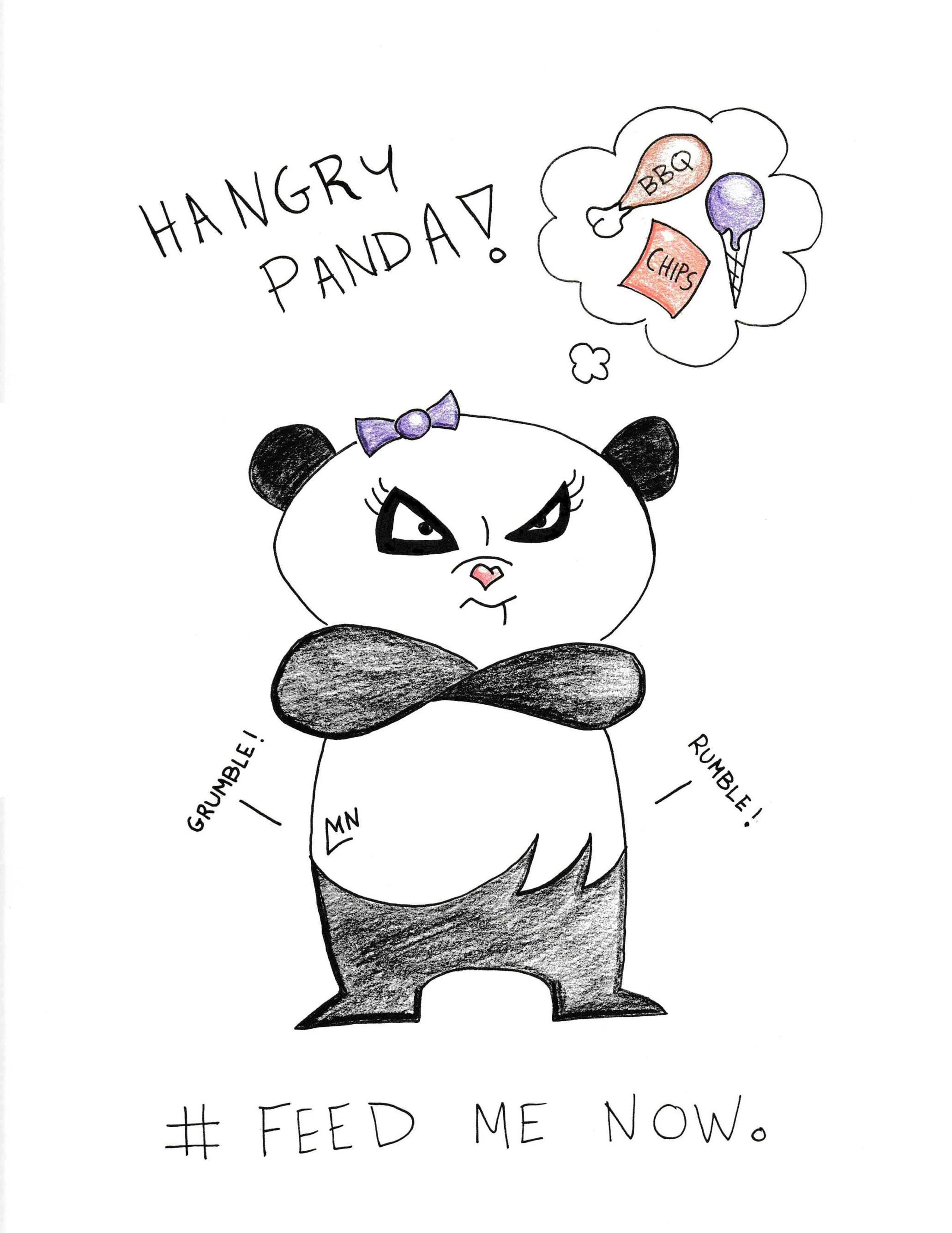 Hangry Panda Feedmenow Instant Download Digital Print Of